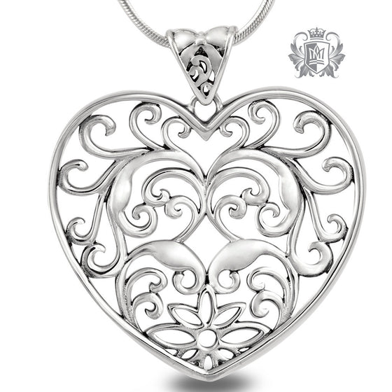 Large Scrolled Heart Pendant - 18 inch chain Pendants
