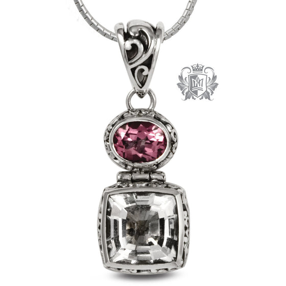 Rock Crystal & Pink Topaz Pendant - 18 inch chain Gemstone Pendants - 1