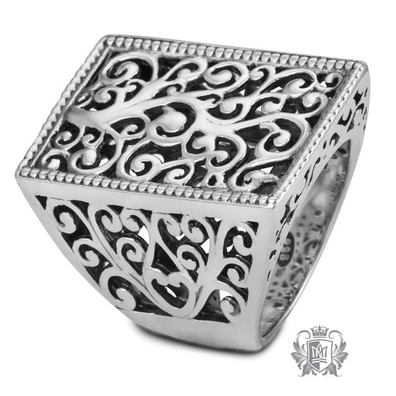 Square Top Scrolled Ring - Metalsmiths Sterling™ Canada