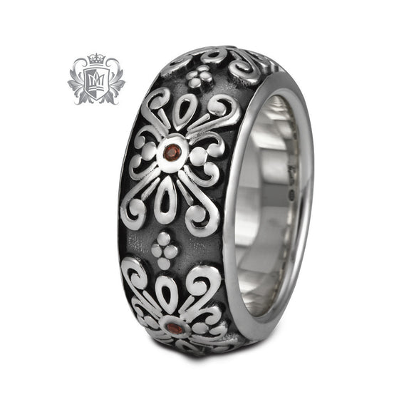 Gemstone Scroll Flower Band - Metalsmiths Sterling™ Canada