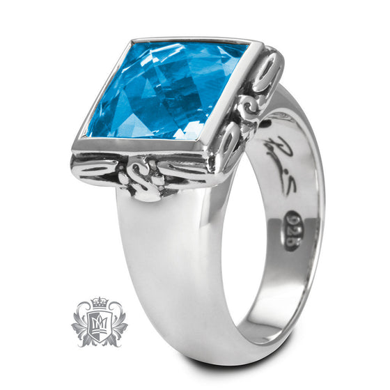 Blue Topaz Square Framed Ring - Metalsmiths Sterling™ Canada
