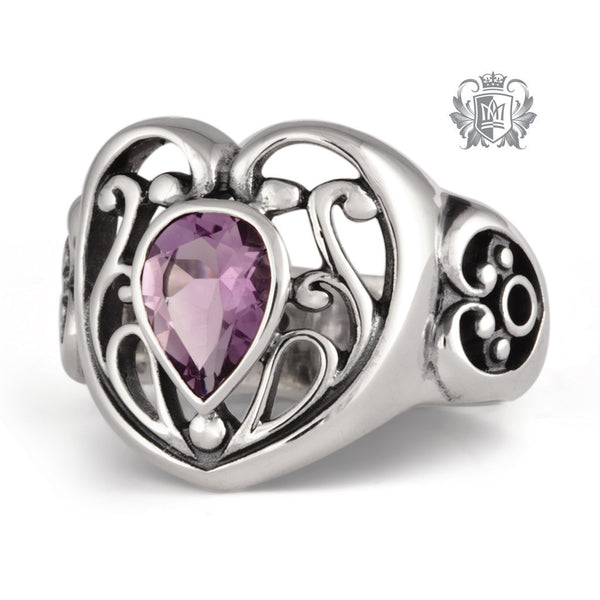 Amethyst Scroll Heart Sterling Silver Ring