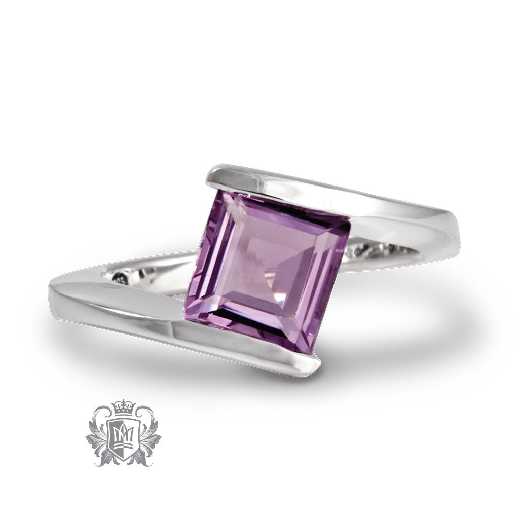 Offset Square Channel Ring - Amethyst / Size 6 Gemstone RIngs - 2