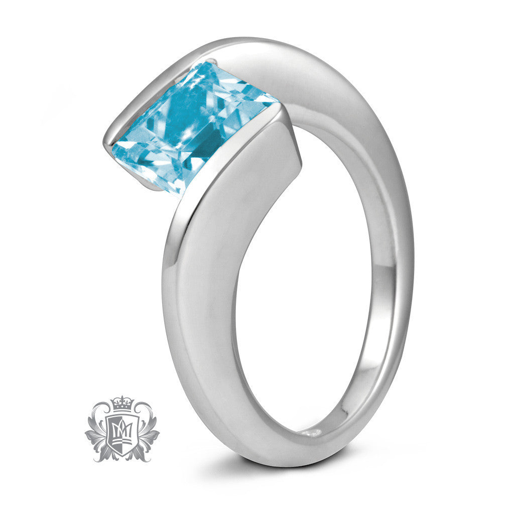 Offset Square Channel Ring - Blue Topaz / Size 6 Gemstone RIngs - 3