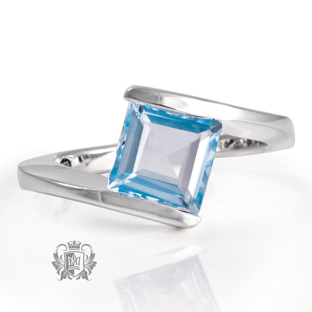 Offset Square Channel Ring -  Gemstone RIngs - 4