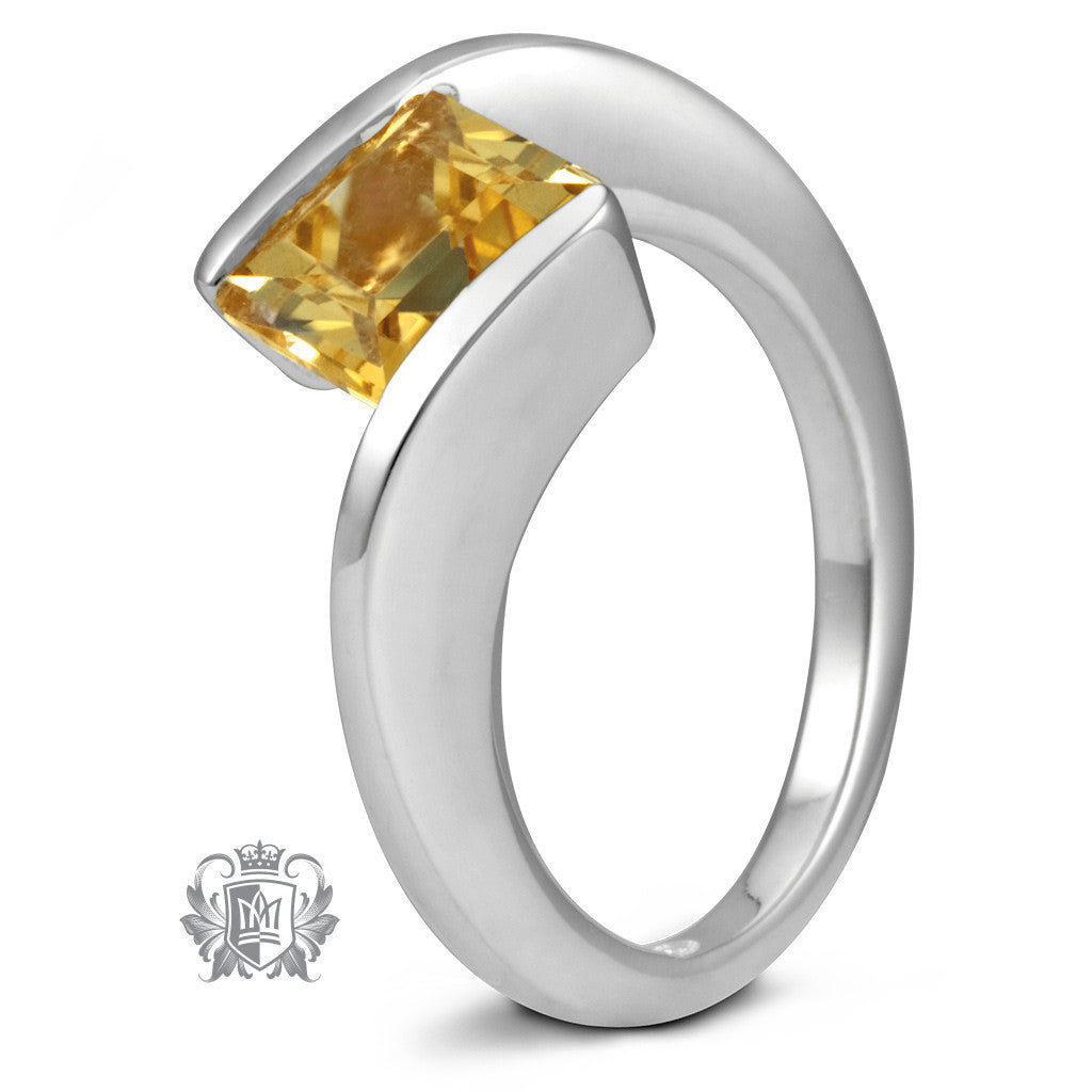 Offset Square Channel Ring - Citrine / Size 6 Gemstone RIngs - 5