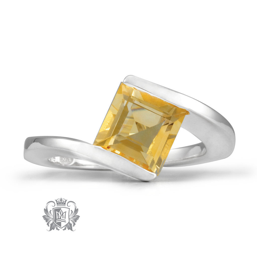 Offset Square Channel Ring -  Gemstone RIngs - 6