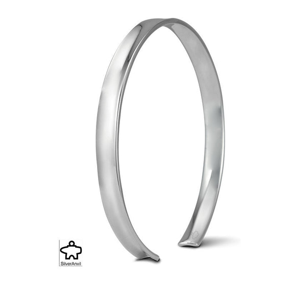 Wide Anticlastic Bangle -  Silver Anvil