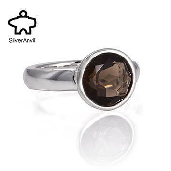 Smoky Quartz Ring -  Silver Anvil