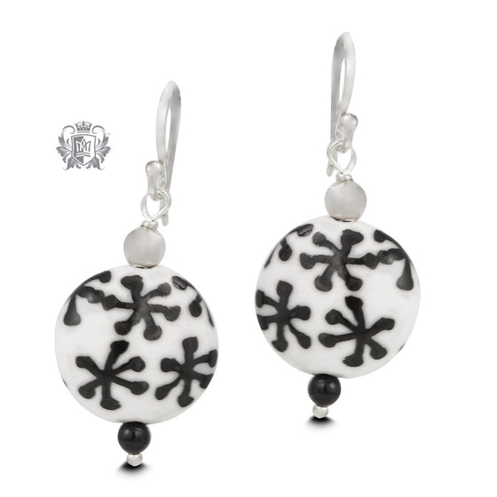 Black Snowflake Murano Glass Earrings
