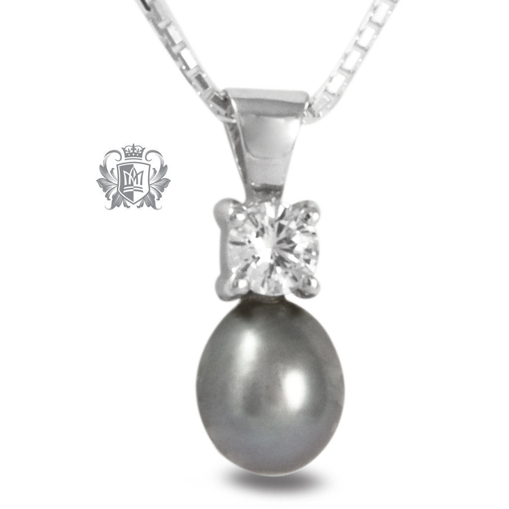 Round Cubic Fresh Water Pearl Pendant - Grey Pearl / 18 inch chain Gemstone Pendants - 2