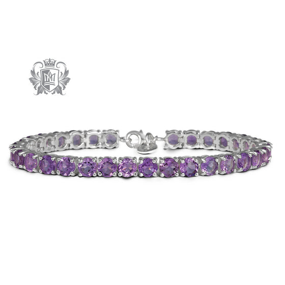 Prong Set Gemstone Tennis Bracelet - Amethyst Gemstone Bracelets - 1