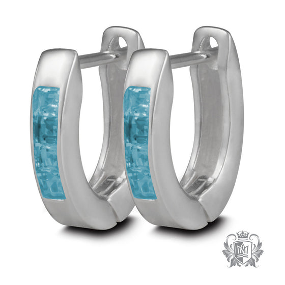 Metalsmiths Sterling Silver Channel Set Blue Topaz Huggie Earrings