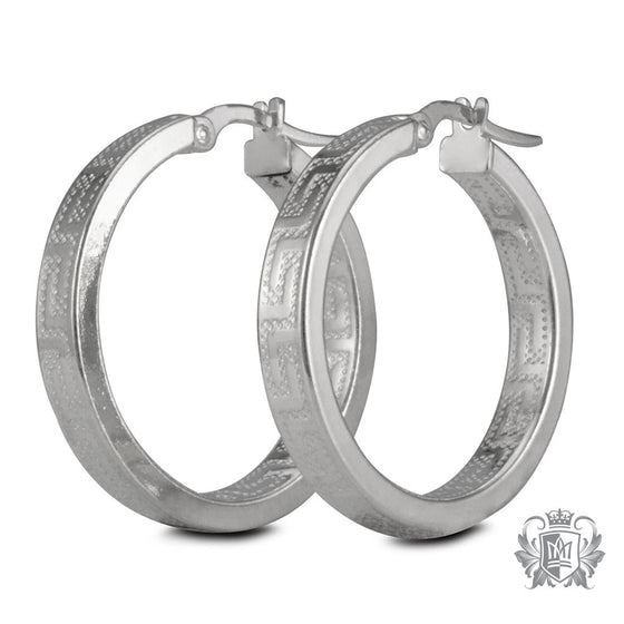 Metalsmiths Sterling Silver Greco Pattern Hoop Earrings