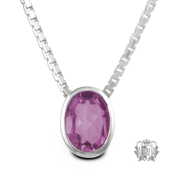 Metalsmiths Sterling Silver Amethyst Oval Pendant