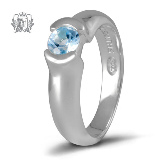Metalsmiths Sterling Blue Topaz Round Channel Ring