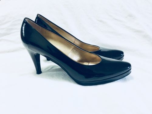 Ron White All Day Heels Pumps Size 11 42 Black Patent Leather Italy
