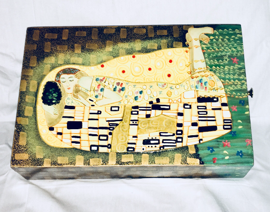 Vintage The Kiss by Gustav Klimt Box, Home Office Decor, Antique Alchemy
