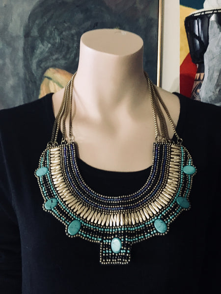 BAJALIA Tribal Beaded Necklace, BIB, Statement, Antique Alchemy
