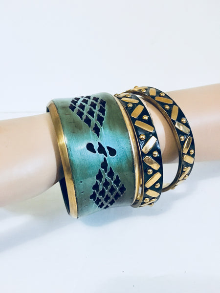 BAJALIA Bracelets, 3 Enamel Bangles, Black, Teal, Brass, Antique Alchemy