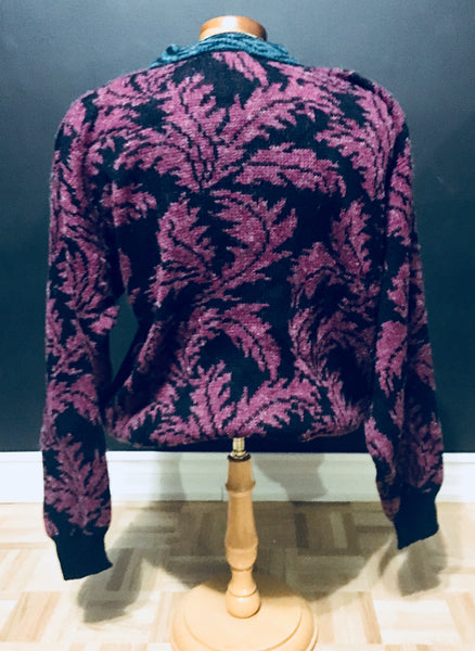 Vintage 1980s Abstract Sweater, Touch Stone NWT, Purple Black, Antique Alchemy