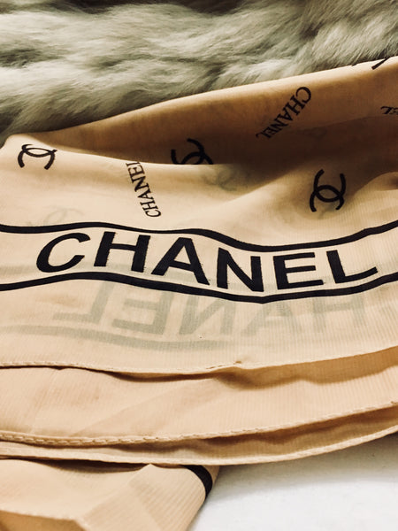 "CHANEL CC Silk Scarf Logo Long Scarf 21"" x 60"" Elegant & Classic Antique Alchemy"