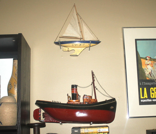 Vintage Tri-Ang English Sail Boat, Industrial, Home Office Decor,  Antique Alchemy