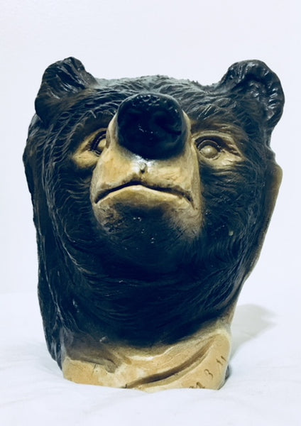 Vintage Thomas B. Maracle Carving, Duel Sided Elder and Bear, Native Canadian Art, Antique Alchemy