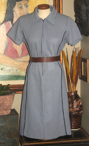 Plus Size Vintage Navy Checkered Dress, 1960-70, XXL, 18-20, Retro Fashion, Antique Alchemy