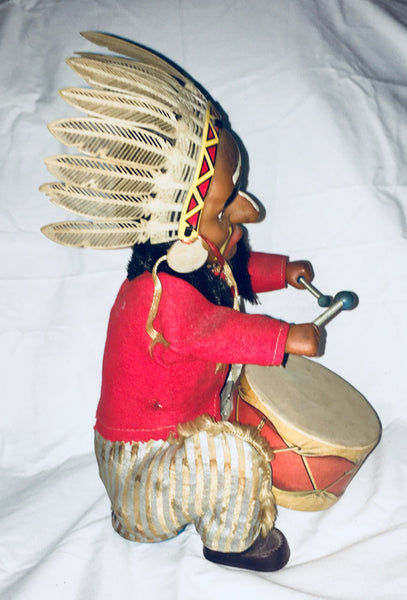 1950's Indian Joe Drummer, Tin Toy, By ALPS Japan, Native American, Antique Alchemy