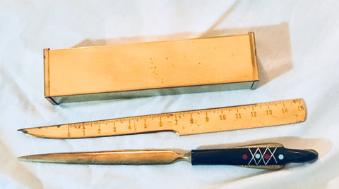 Antique Art Deco Bird Letter Opener and Ruler Set Made in Lebenon Antique Alchemy