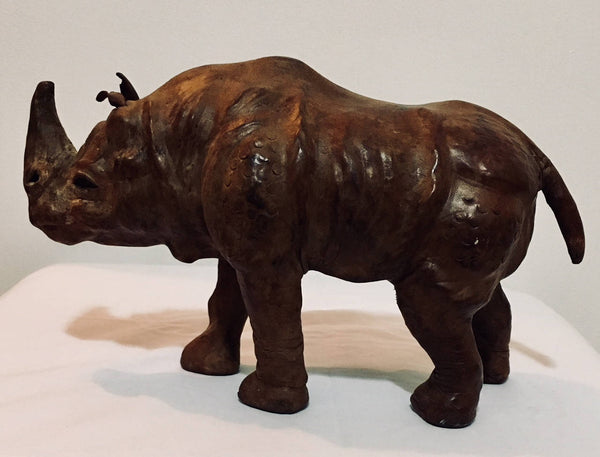 Vintage Leather Molded Rhinoceros from India, Antique Alchemy