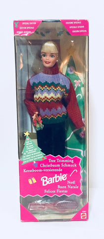 1998 Tree Trimming Barbie, Christmas Mattel, Barbie Doll, Vintage Barbie Doll, Antique Alchemy