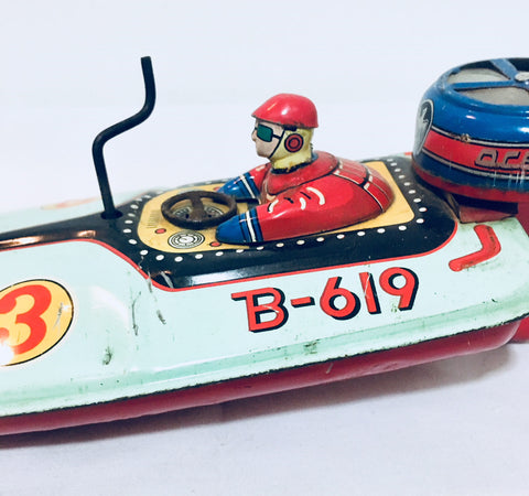 Vintage 1950s Bandai Japanese Tin Litho Racing Wind Up Boat, Antique Alchemy
