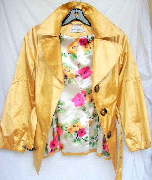 Womens Yellow Coat, Trench Coat, Vintage Jacket, Outerwear, Designer Hilary Radley, Antique Alchemy