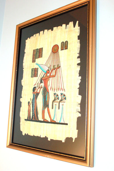 Vintage Egyptian Papyrus Paintings, Egypt, Framed Decor, Artwork, Antique Alchemy