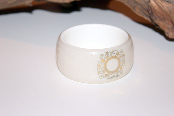 Lucite Bangle, White Bangle, Layered Lucite, Vintage Lucite, Gold Decal, Ornate Bangle, Bracelet,