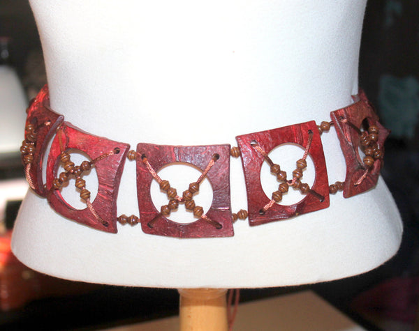 Red Chunky Belt, Womens Vintage Accessories, Boho Fashion, Hippy Style, Antique Alchemy
