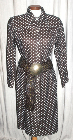 16-18 Plus Size Vintage Polka Dot Swing Dress, Retro Fashion, Rockabilly Dress, Brown and White Antique Alchemy