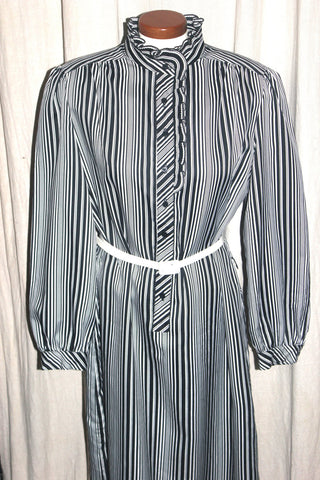 Plus Size Vintage Secretary Dress, Black White Striped Patterned, Retro Fashion,  Antique Alchemy