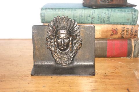 Antique Chiefs Head Bookends, Home Office Decor, Bronzed Heads, Antique Alchemy