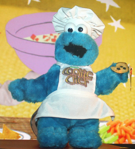 NWT Cookie Monster with Apron and Cookie, Sesame Street, Vintage Toys, Antique Alchemy