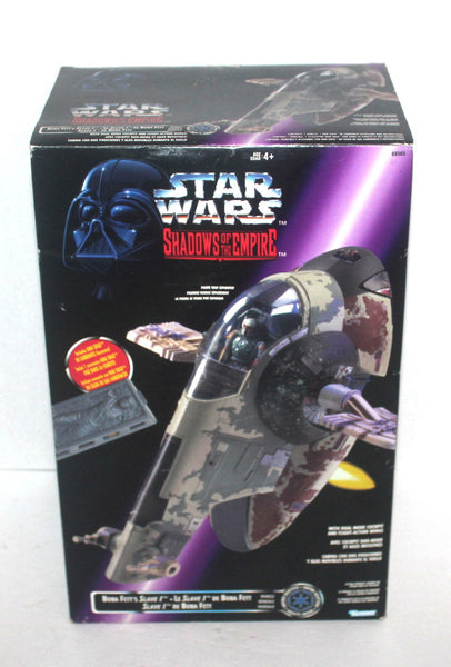 NOS, 1996 Star Wars Boba Fett's Slave I with Han Solo in Carbonite Shadows of the Empire toy, Antique Alchemy
