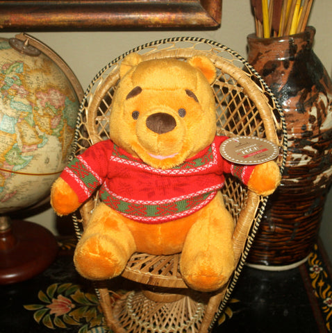 8'' Christmas Winnie The Pooh Plush Toy, NWT, Hallmark, Stuffed Animal, Antique Alchemy