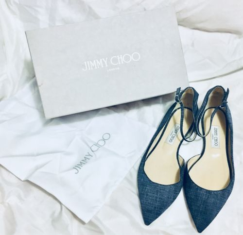 Jimmy Choo Lucy Denim Flats 40.5 Size 10.5 Luxury Shoes Jean
