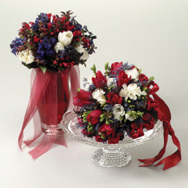 Red, White, and Blue Tulip with Delphinium or Freesia Bouquet