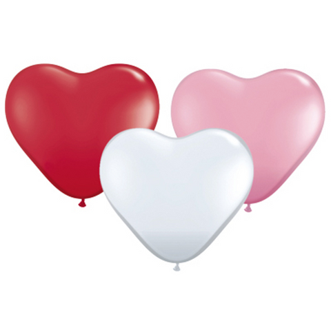 Assorted Heart Shaped Latex Balloons - Pack of 25, 28cm