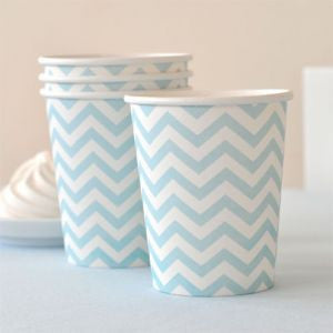 Pale Blue Chevron Paper Cups