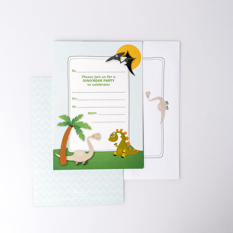 Dino'Roar Party Invitation + Envelopes (Pack of 10)
