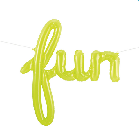 'Fun' Lime Green Script Balloon, 109cm